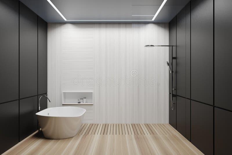 Grijze en witte betegelde badkamers, ton en douche vector illustratie