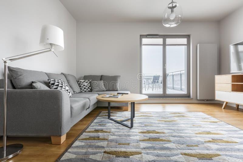 Grijze en witte woonkamer stock afbeelding