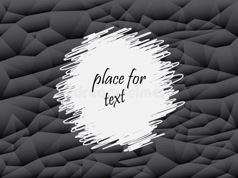 Grijze en zwarte abstracte veelhoekachtergrond Vector geometrische textuur, reeks driehoeken Plaats voor tekst royalty-vrije illustratie