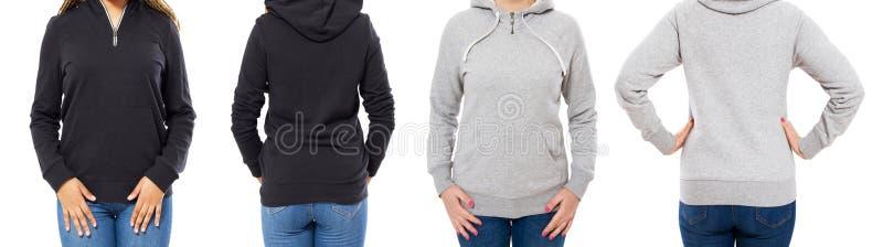 Grijze en zwarte hoodie vastgestelde voor en achterdiemening op witte achtergrond omhoog wordt geïsoleerd - kapspot stock foto's