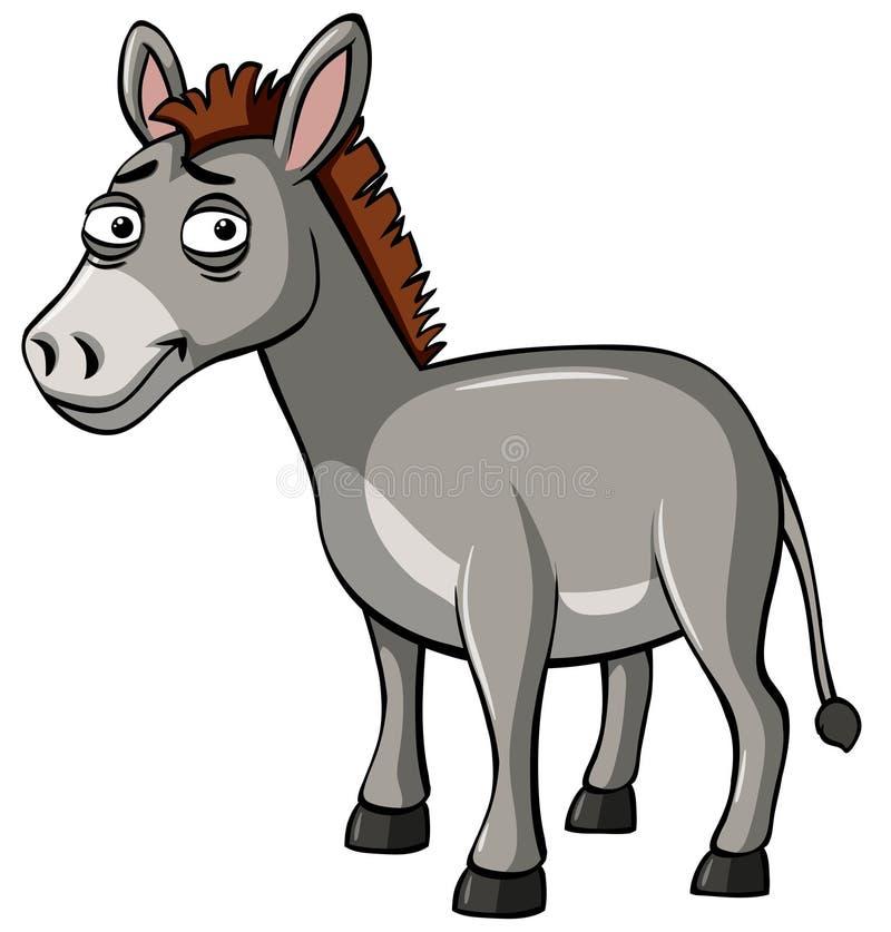 Grijze ezel met droevig gezicht vector illustratie