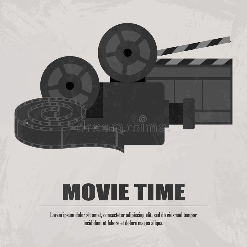 Grijze filmdakspaan, projector met movistrook bij lichte achtergrond royalty-vrije illustratie