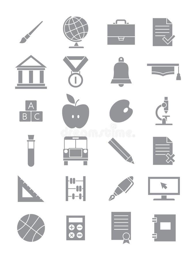 Grijze geplaatste schoolpictogrammen vector illustratie