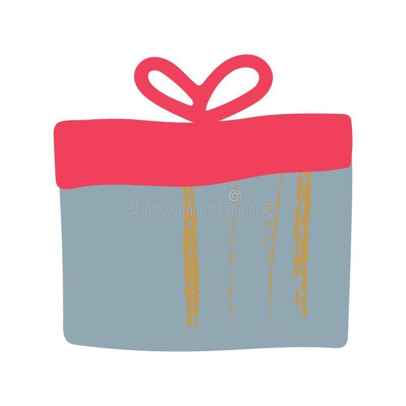 Grijze giftdoos met rood deksel en lint stock illustratie