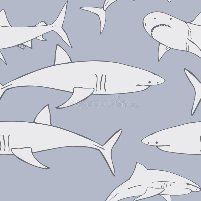 Grijze haaien Vector naadloos patroon stock illustratie