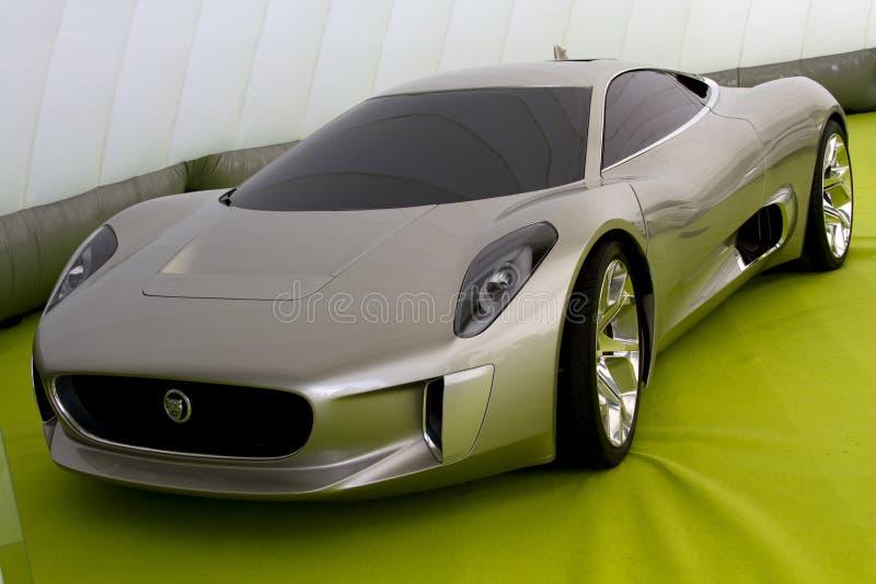 Grijze het conceptenauto van de Jaguar c-X75 stock foto's