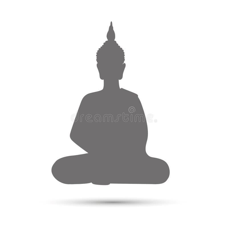 Grijze het silhouetmeditatie van Boedha royalty-vrije illustratie