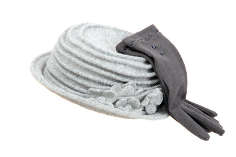 Grijze hoed en handschoenen royalty-vrije stock foto's