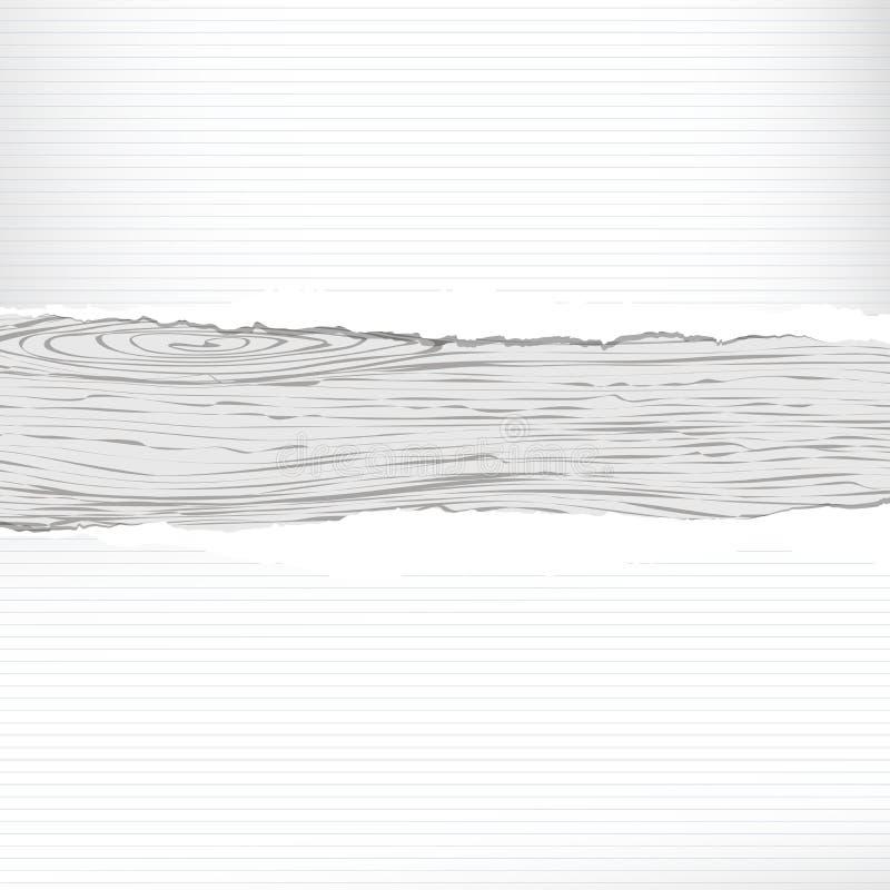 Grijze houten plank met wit gescheurd beslist notitieboekje, voorbeeldenboekdocument stock illustratie
