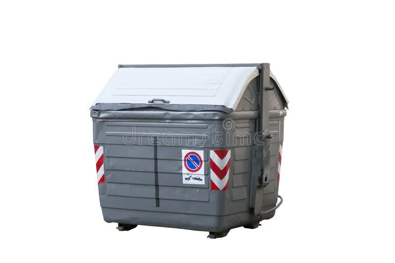 Grijze huisvuilcontainer stock foto's