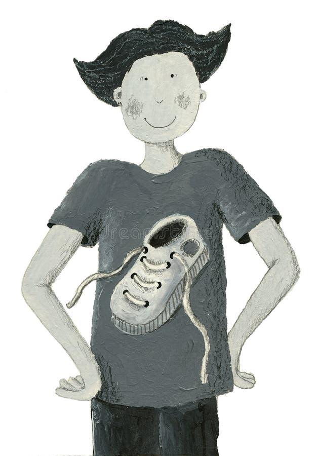 Grijze illustratie van jongen royalty-vrije illustratie