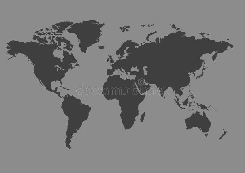 Grijze kaart van de wereld royalty-vrije illustratie