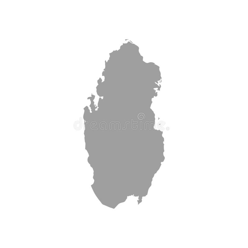 Grijze kaart van Qatar stock illustratie