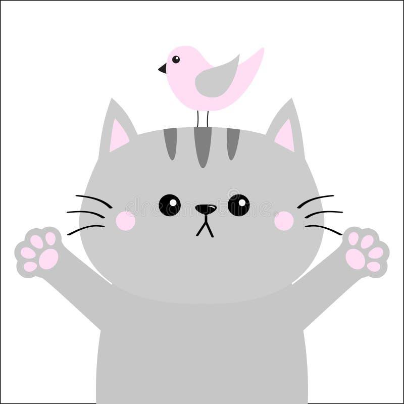 Grijze kat klaar voor het koesteren Roze vogel De open druk van de handpoot Pot die voor een omhelzing bereiken De kaart van de b stock illustratie