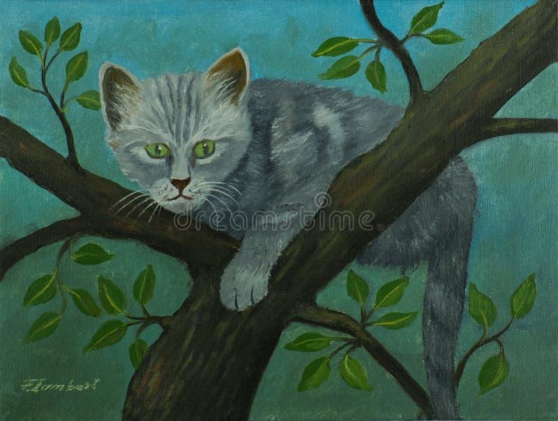 Grijze kat met groene ogen die op een boom zitten vector illustratie