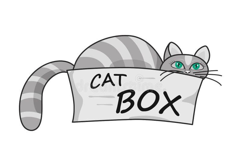 Grijze kat met groene ogen die uit een kartondoos gluren stock illustratie