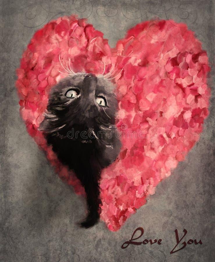 Grijze kat op roze bloemblaadjes vector illustratie