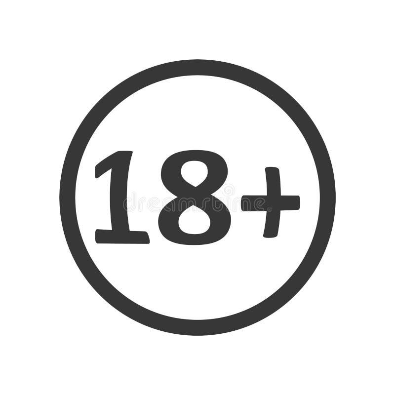 Grijze kleur 18 pictogram vectoreps10 leeftijdsgrens 18 teken royalty-vrije illustratie