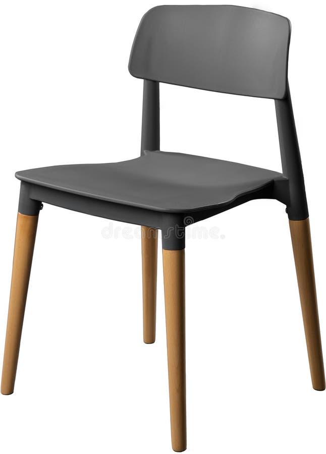 Grijze kleuren plastic stoel, moderne ontwerper Stoel op houten die benen op witte achtergrond worden geïsoleerd Meubilair en bin stock afbeelding