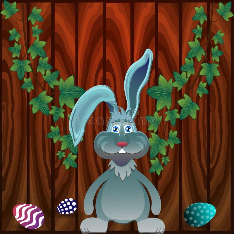 Grijze konijn en eieren royalty-vrije illustratie