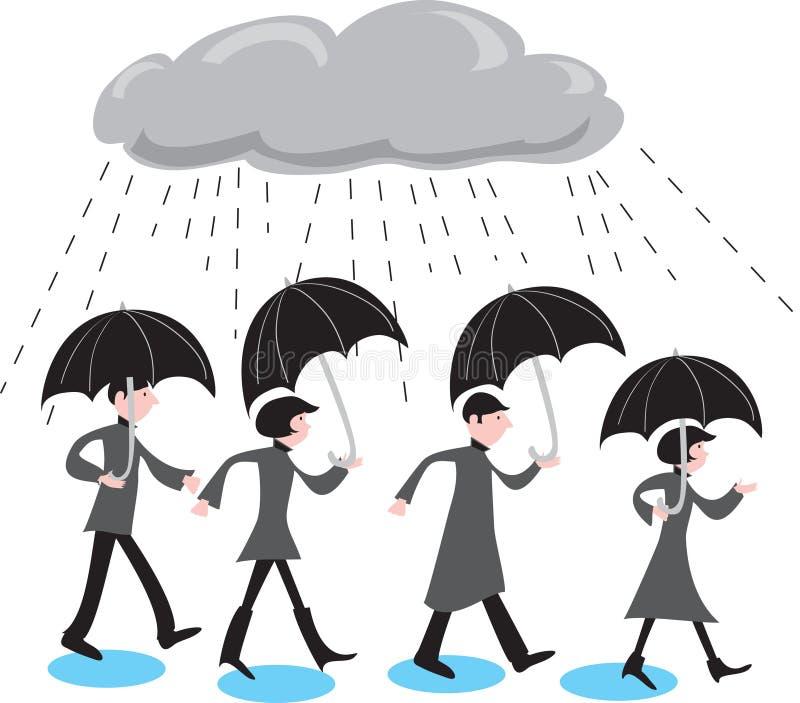 Grijze mensen in de regen vector illustratie