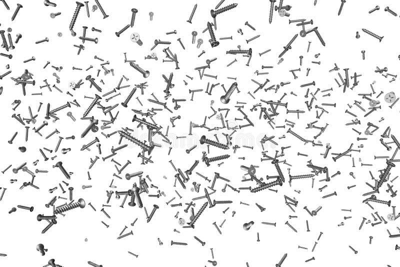 Grijze, metaal self-tapping schroeven die op wit worden geïsoleerd - leuke industriële 3D illustratie, pic voor om het even welke vector illustratie