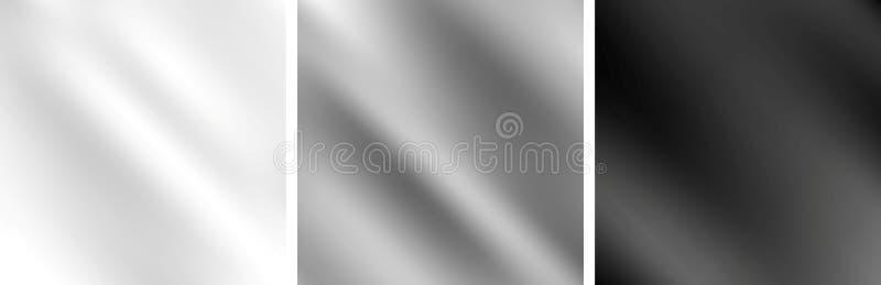 Grijze metaal zwart-wit vlotte gradiëntachtergronden vector illustratie