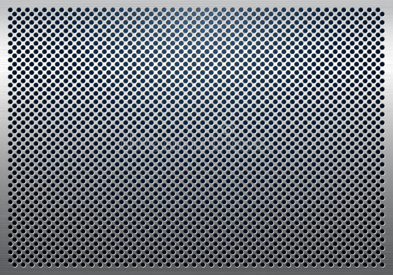 Grijze metaalachtergrond, geperforeerde metaaltextuur stock illustratie