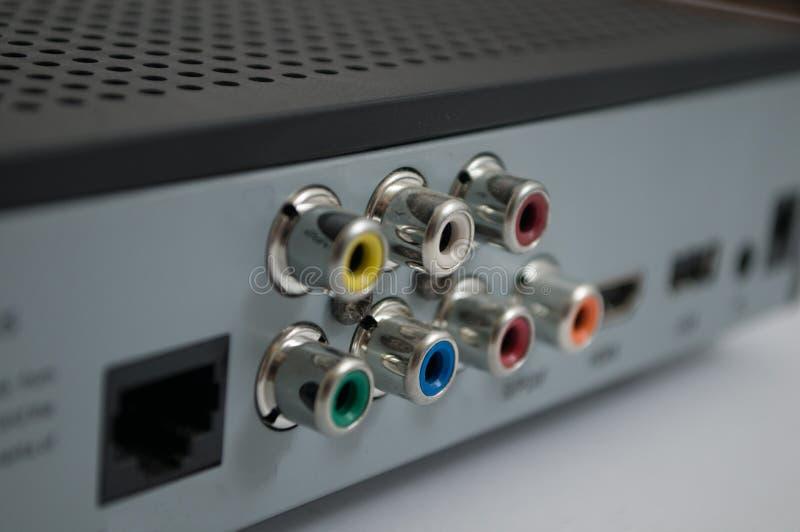 Grijze modem op een witte achtergrond stock foto