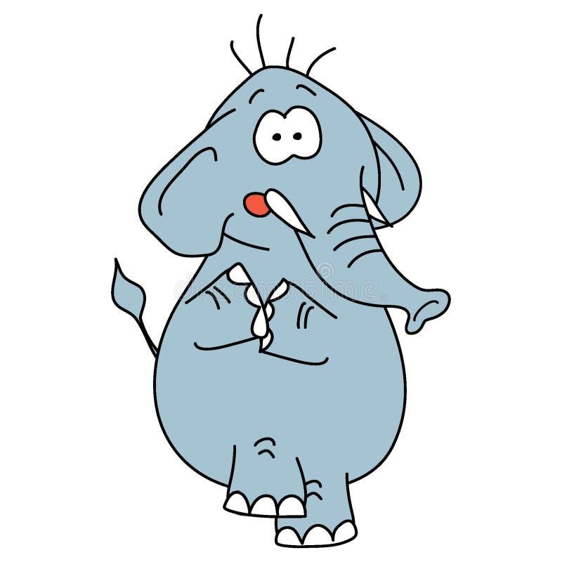 Grijze olifant op witte achtergrond vector illustratie