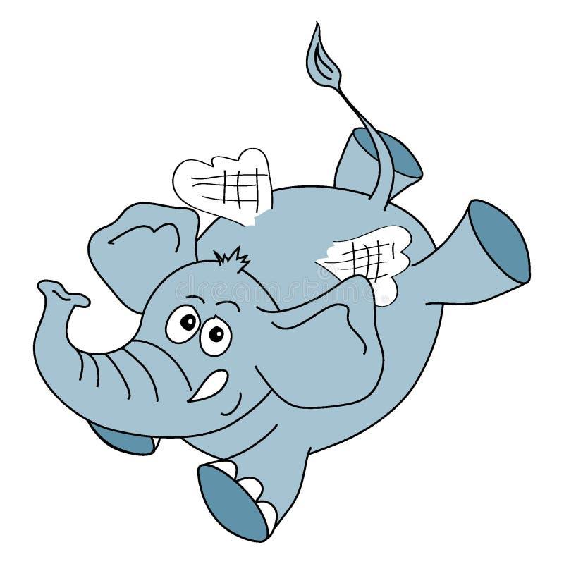 Grijze olifant op witte achtergrond stock illustratie