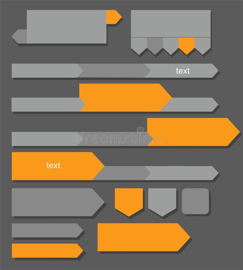 Grijze, oranje pijlen, knopen, grafieken, infographics stock illustratie