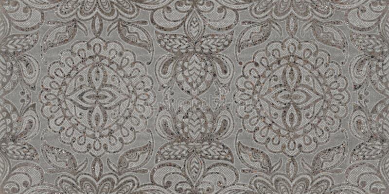Grijze ornament naadloze achtergrond, patroontextuur, het digitale ontwerp van de muurtegel royalty-vrije stock foto