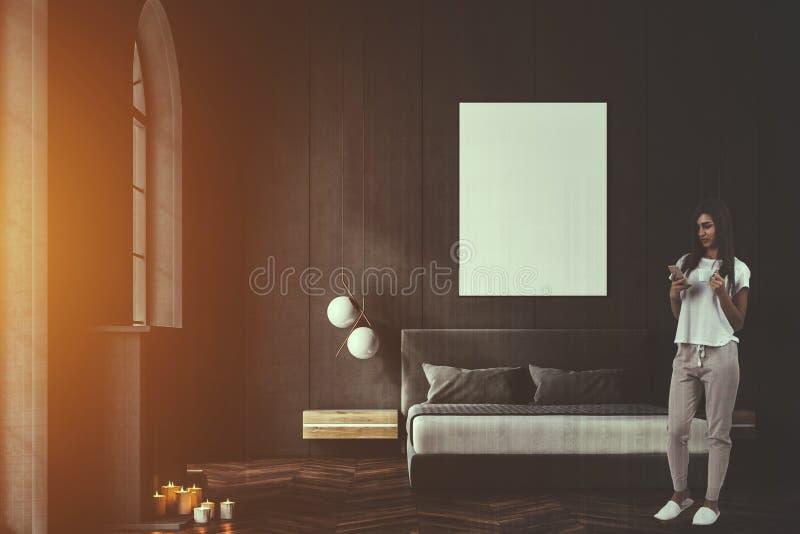 Grijze overspannen vensterslaapkamer, gestemde affiche royalty-vrije stock afbeelding