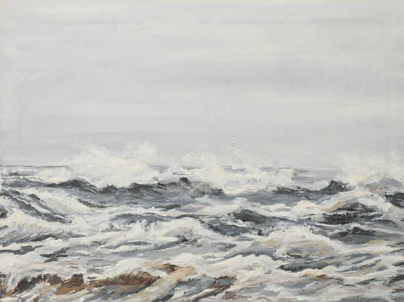 Grijze overzeese golven, olieverfschilderij stock afbeeldingen