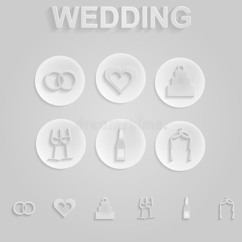Grijze pictogrammen voor huwelijk vector illustratie