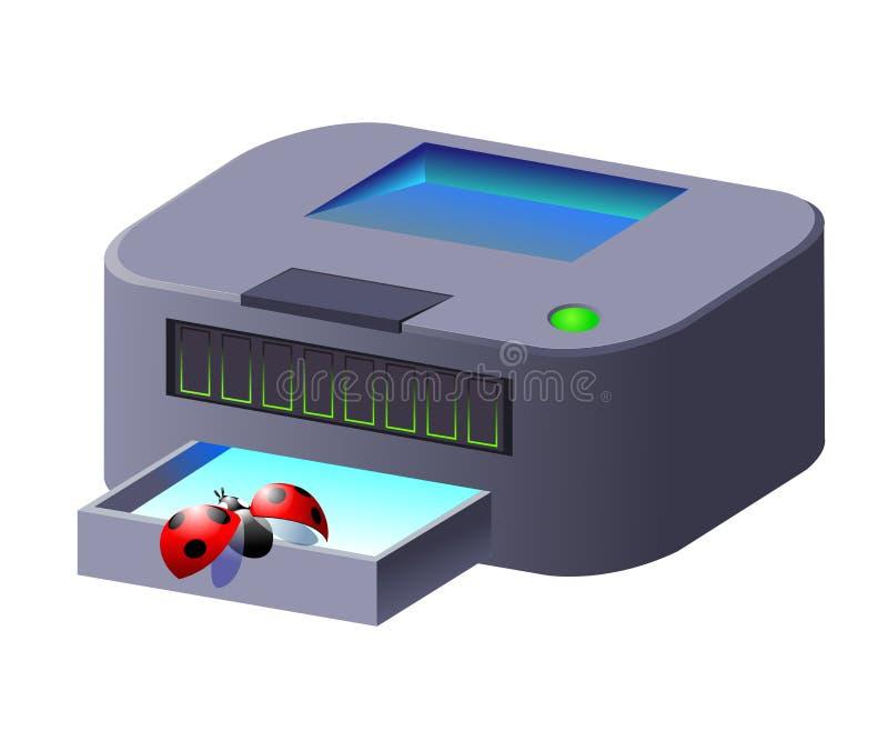 Grijze printer met lieveheersbeestje royalty-vrije illustratie