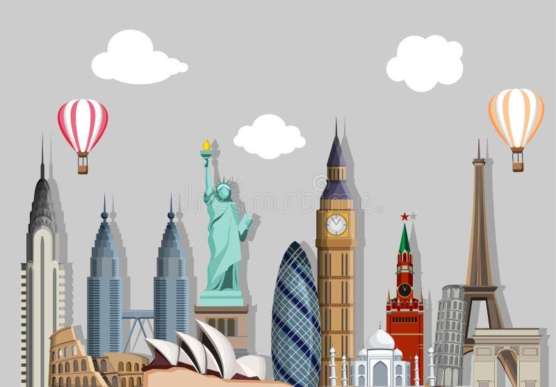 Grijze reizende achtergrond met gezichten wereldwijd stock illustratie