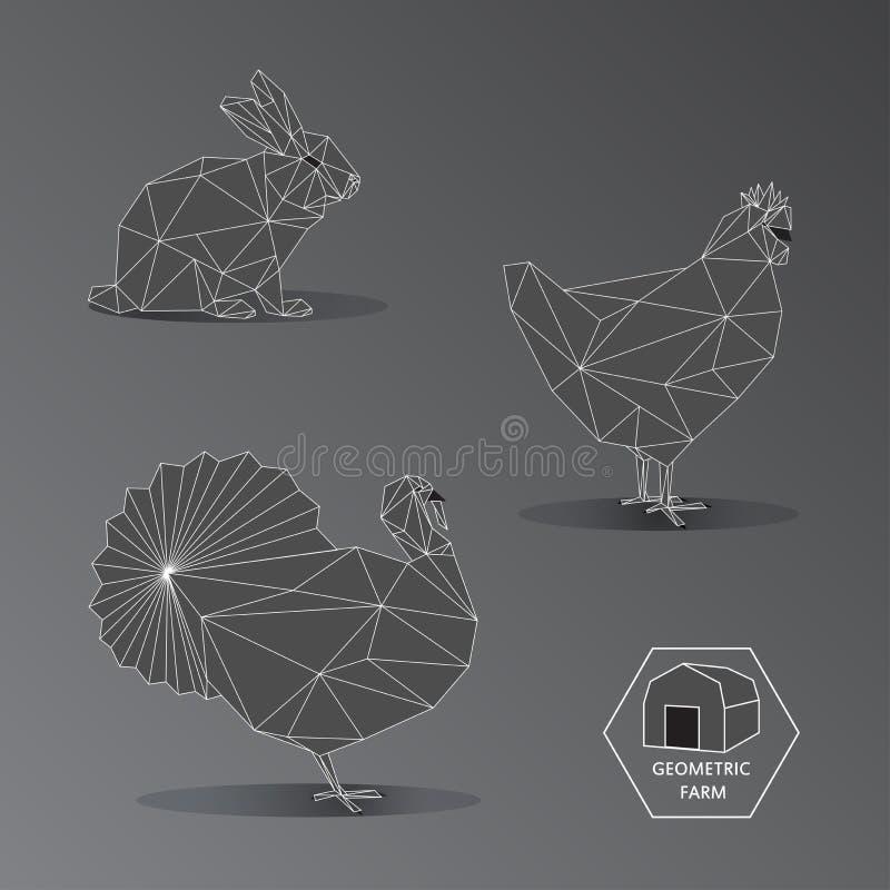 Grijze schaal geometrische illustratie van kleine landbouwbedrijfdieren - triang royalty-vrije illustratie