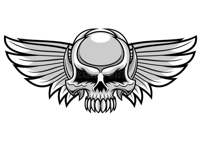 Grijze schedel en vleugels vector illustratie