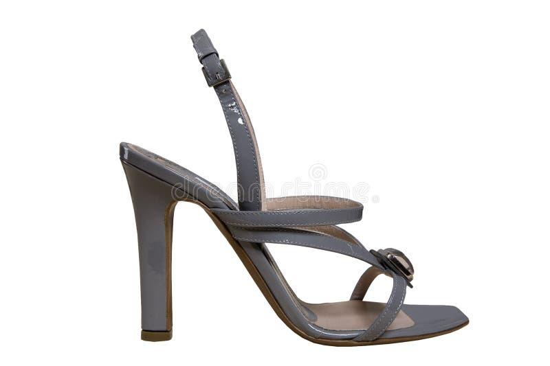 Grijze schoenen met hoge hielen royalty-vrije stock fotografie