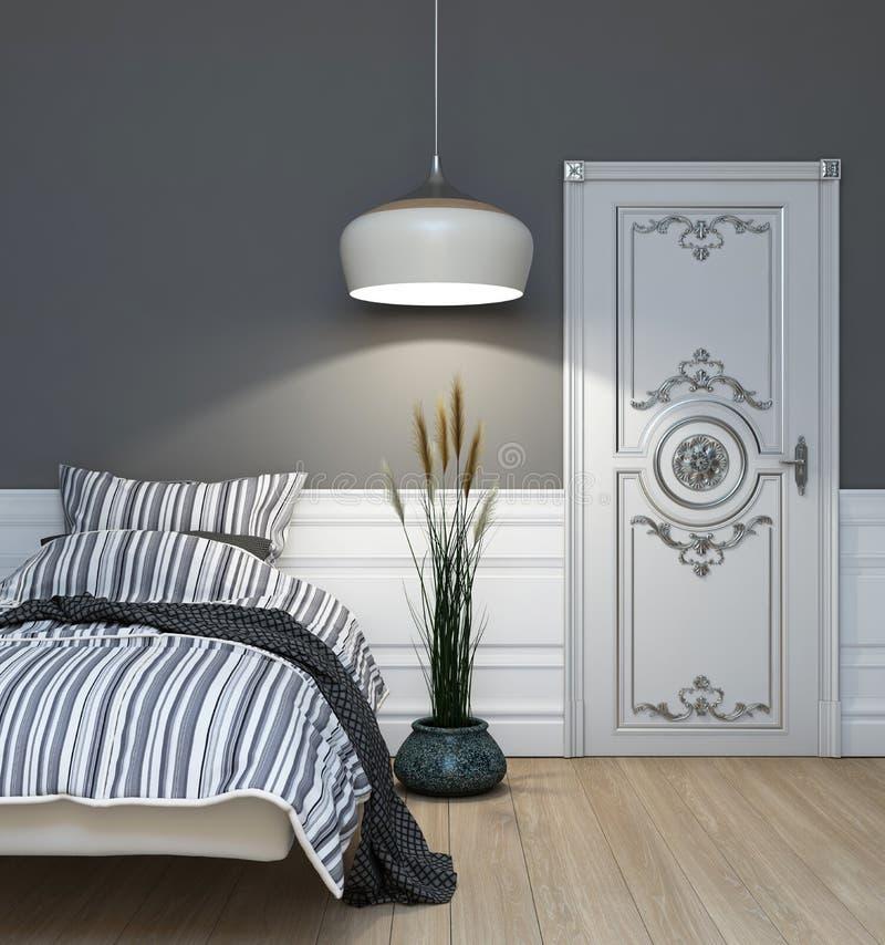 Grijze slaapkamer stock illustratie afbeelding bestaande uit huis 27924648 - Grijze slaapkamer ...