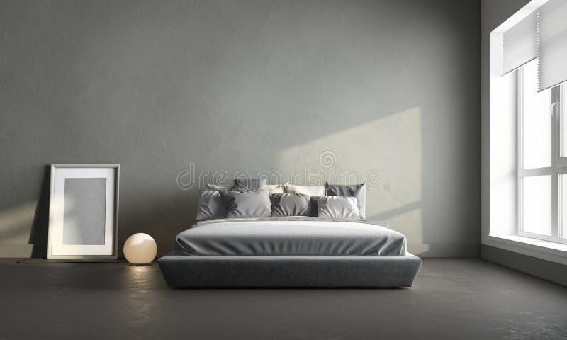 Grijze slaapkamer stock afbeelding. Afbeelding bestaande uit ...