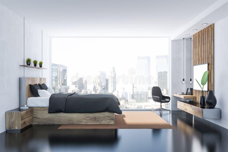 Grijze slaapkamer met het zijaanzicht van TV vector illustratie