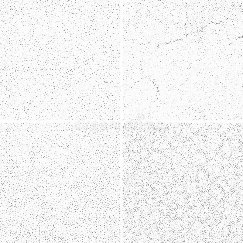 Grijze subtiele gestippelde grunge vectortexturen, verontruste lawaai doorstane geplaatste patronen royalty-vrije illustratie