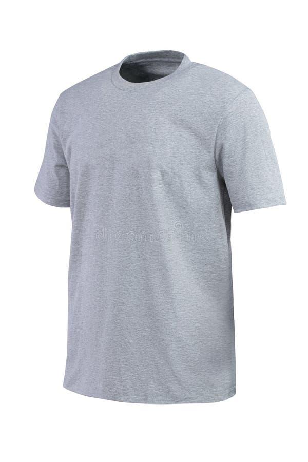 Grijze t-shirt voor brandmerken geïsoleerd op witte achtergrond royalty-vrije stock fotografie