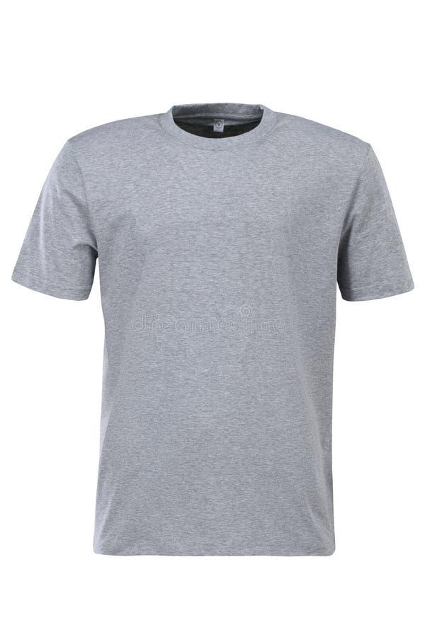 Grijze t-shirt voor brandmerken geïsoleerd op witte achtergrond stock afbeeldingen