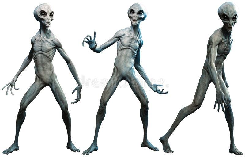 Grijze vreemdelingen 3D illustratie stock illustratie