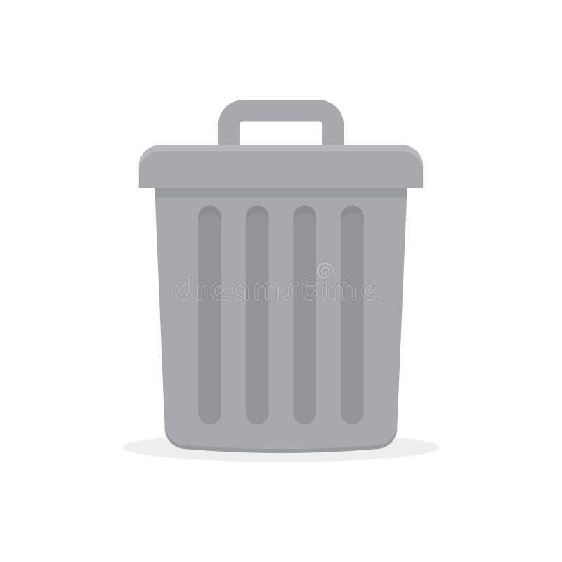 Grijze vuilnisbak met deksel stock illustratie