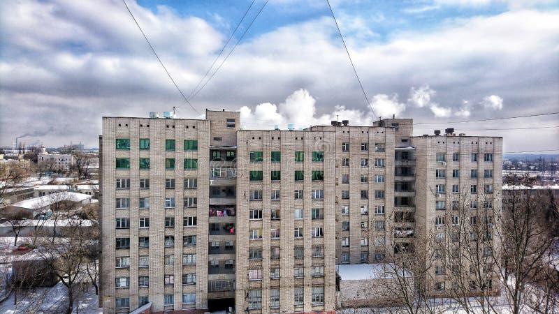 Grijze werkelijkheid, industriële stad, dagelijkse krottenwijken stock foto's